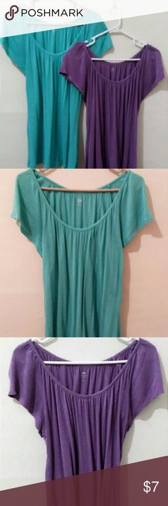 Flowing Blouse Scoop Neck - 100% rayon - Short-sleeved  Both available in colors shown (purple, aqua blue) Apt. 9 Tops Blouses