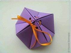 A cool way to make a paper orgiami gift box by yourself. All you need is, obviously, paper. Don't forget to put an actual gift in the gift box 🙂 Source Origami Candy Box, Origami Gift Bag, Origami Paper, Diy Paper, Paper Art, Paper Gift Box, Diy Gift Box, Diy Box, Paper Gifts