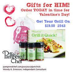 Get Your Grill On!  Pampered Chef Gift Set Perfect for HIM for Valentines Day!  Order today before it's too late!