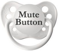 Personalized Pacifiers Mute Button Pacifier in White