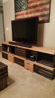 Looking for a cool and affordable DIY tv stand? Look no further - take your pick from these 21 super cool TV stand ideas! Wooden Crates Tv Stand, Crate Tv Stand, Diy Tv Stand, Tv Furniture, Diy Pallet Furniture, Tv Stand Makeover, Tv Stand Plans, Bench Plans, White Tv Stands