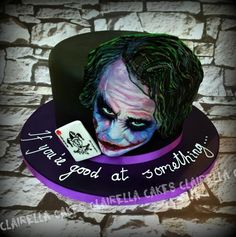 "This is my Joker Cake – all airbrushed & hand painted – cos that's what I do ; The Joker has his message for Halloween ""If you're good at something…. Joker Cake, Horror Cake, Cupcake Cookies, Cupcakes, Bithday Cake, Fantasy Cake, Superhero Cake, Different Cakes, Cakes For Men"