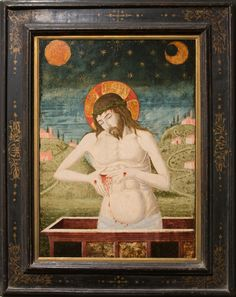 """https://flic.kr/p/JQFBmW   Artist Unknown (formerly attributed to Antonio Liberale da Verona, Italian, 15th c.), Christ Standing in the Tomb, n.d.   Tempera on wood panel, 25.5 x 17.5"""".  Collection of Tweed Museum of Art, UMD.  Gift of Mrs. E.L. (Alice Tweed) Tuohy.  D61.x3."""