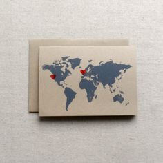 Travel Map / Custom Map Card / Long Distance by PattonPrints