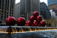 Title  A Christmas Card From New York City - A 5th Avenue Fountain With Giant Red Balls   Artist  Georgia Mizuleva   Medium  Photograph - Fine Art Photograph