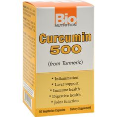 Bio Nutrition Curcumin 500 - 50 Vegetarian Capsules - From TurmericInflammationLiver SupportImmune HealthDigestive HealthJoint Function For hundreds of years the people of the far east have used the spice Turmeric for its healing and health promoting properties. Bio Nutritions Curcumin 500 is a potent form of the isolated compound Curcumin which gives Turmeric its beneficial properties. Free Of: Gluten, yeast, corn, dairy, sugar, salt, wheat, soy and preservatives.Disclaimer: These…