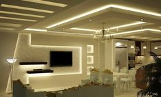 Tv Mûr Gypsum Ceiling Design, House Ceiling Design, Ceiling Design Living Room, Bedroom False Ceiling Design, Home Room Design, Living Room Lighting, Home Entrance Decor, False Ceiling Living Room, Living Room Tv Unit Designs