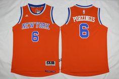 New York Knicks #6 Kristaps Porzingis orange Jersey