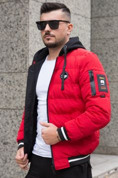 Geaca 2SIDE Rosu-Negru Canada Goose Jackets, Casual Outfits, Winter Jackets, Clothing, Fashion, Winter Coats, Outfits, Moda, Casual Clothes