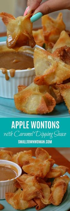 Apple Wontons with Caramel Dipping Sauce Wonton Recipes, Fruit Recipes, Apple Recipes, Fall Recipes, Appetizer Recipes, Sweet Recipes, Dessert Recipes, Cooking Recipes, Italian Appetizers