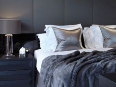 rich, deep grey, taupe, white and black bedroom - Townhouse, Notting Hill by Louise Bradlley