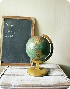 Antique Tin Globe - Old School Kitchen Decor - Antique Tin Globe Vintage Globe, Vintage Maps, Antique Maps, Vintage Decor, Map Globe, World Globes, Wood Patterns, Travel Themes, Cartography