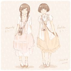 2013 Mori Girl Fashion *。 Left is momochy(me), the right is my friend.