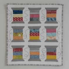 Mini Quilt Mini spool quilt by Jo Barraclough Small Quilt Projects, Quilting Projects, Quilting Designs, Quilting Ideas, Small Quilts, Mini Quilts, Strip Quilts, Quilt Blocks, Patchwork Quilt
