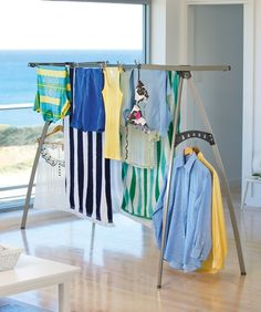 Hills Portable 120 Clothesline- a new clothesline that folds flat, is easy to use and move, plus fits almost anywhere around the home and is ideal for vacation homes (beach, lake, etc.) It is also ideal for year-round drying, in all seasons. http://www.lifestyleclotheslines.com.au/hills-portable-120-clothesline/