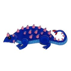 A Club Life Dinosaur brooch by Erstwilder! This spikey guy looks like an ankylosaurus in brilliant blue. These little works of art are created with multiple layers of solid laser cut resin with hand-finished accents. My Collection, Animal Jewelry, Resin Jewelry, Jewellery, How To Make Beads, Prehistoric, Box, Vibrant