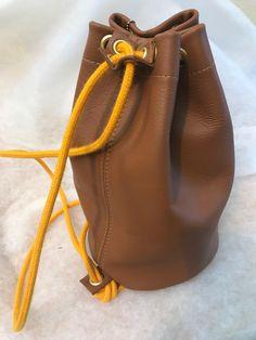 Handmade genuine leather drawstring duffle bucket bag rucksack handmade  England e0b5bdbf45d10