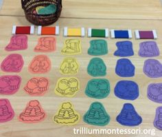 January- Preschool- Color Sorting winter clothes, with Montessori color tablets