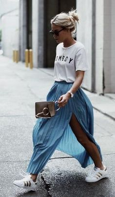 tomboy tee. pleated skirt. adidas trainers.