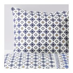 IKEA - SOMMAR 2017, Duvet cover and pillowcase(s), Twin, , The polyester/cotton blend is easy to care for since the fabric is less liable to shrink and crease.Concealed snaps keep the comforter in place.