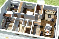 Nízkorozpočtový projekt domu bungalov na úzke pozemky Home Fashion, Mansions, House Styles, Home Decor, Plants, Houses, Decoration Home, Room Decor, Villas