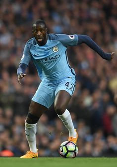 Ya Ya Toure of Manchester City in action during the Premier League match between Manchester City and Manchester United at Etihad Stadium on April 27, 2017 in Manchester, England.