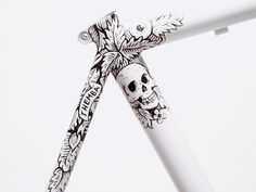 Illustration, bicycle, frame, hand painted, spoon, black, skull, detail in Illustration