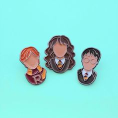 Harry Potter Trio Enamel Pins ($20) ❤ liked on Polyvore featuring jewelry, brooches, bubble jewelry, enamel brooches, pin brooch, pin jewelry and monarch butterfly jewelry