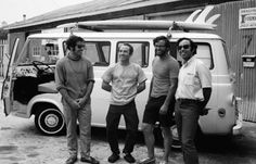 Fun hogs (from left to right) Doug Tompkins, Yvon, Dick Dorworth and Lito Tejada-Flores in the yard in front of the Tin Shed, 1968. The four friends were soon to drive that Econoline van down the Pan-American Highway to Patagonia, Argentina, for six months of climbing, surfing and skiing. The film that came out of the trip, called Mountain of Storms, is a cult classic.