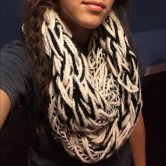 Spotted while shopping on Poshmark: Black & white arm-knitted infinity scarf! #poshmark #fashion #shopping #style #Accessories