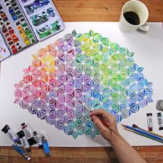 Rainbow star triangle hex color chart watercolor painting--with coffee! ☕️☕️☕️ I got a lot of questions on the materials that I used for… Watercolor Pattern, Watercolor Print, Watercolour Painting, Painting & Drawing, Watercolors, Eagle Painting, Art Aquarelle, Arte Sketchbook, Painting Patterns