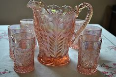 Vintage Pink Iridescent Imperial Lenox Signed Glass Pitcher Set Tiger Lily