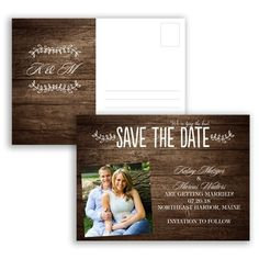 Rustic & Refined Wood Grain - Photo Save the Date Postcard, Typography at Invitations By David's Bridal