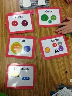 Sorting by attributes math station in kindergarten.
