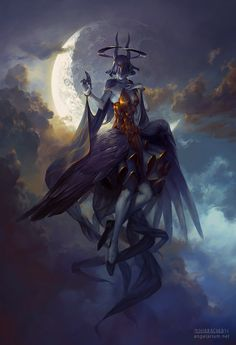 "spassundspiele: "" Leliel, Angel of Night – fantasy concept by Peter Mohrbacher """
