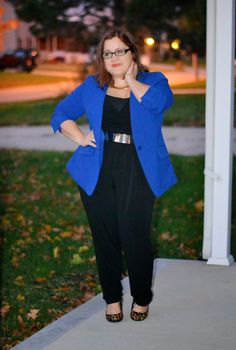 curvy and petite style, jumpsuit, brights, work style, fashion, Torrid http://stylecassentials.blogspot.com/2014/10/brights-and-leopard.html