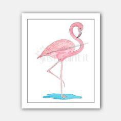 Flamingo Watercolor,  Art Print Instant Download, Wall Art, Clipart
