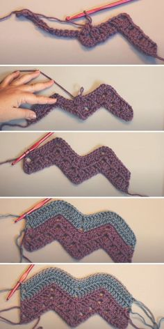 As you may know, I love exploring new ideas in crochet, so I'm not constricting myself to any rules! Zig Zag Crochet Pattern, Granny Square Crochet Pattern, Free Pattern, Crochet Stitches For Blankets, Crochet Stitches Patterns, Crochet Designs, Crochet Ripple Afghan, Blanket Crochet, Chevron