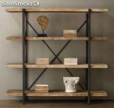 Librería estantería industrial madera y forja