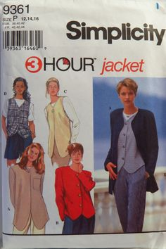 Simplicity 9361 Misses' Jackets and Vests