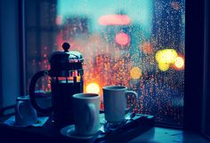Pluviophile: (n) a lover of rain; someone who finds joy and peace of mind during rainy days. Celebrate the rain with coffee and a good book! I Love Coffee, My Coffee, Coffee Cups, Night Coffee, Morning Coffee, Rain And Coffee, Coffee Tumbler, Coffee Corner, Drink Coffee