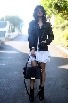 Soften up leather with ruffles. TopShelfClothes.com