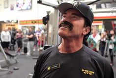 Arnold Schwarzenegger is pretty busy these days with funny videos. First he appears in Bud Light Super Bowl 2014 ad teasers and now in an undercover skid to raise money for after school programs. Arnold Schwarzenegger, My Gym, Gold's Gym, Gym Youtube, Frank Zane, Gym Weights, Mr Olympia, Bodybuilding Motivation, Undercover
