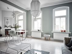 I like the vibe of this home. The green-grey walls combined with the white hard wood flooring give the home a very fresh look and the furniture and accessories are chosen very carefully to create a stylish, cozy place with character. Decor, Grey Walls, Interior Design, Hygge Home, Home, Scandinavian Home, Living Room Inspiration, Interior, My Scandinavian Home