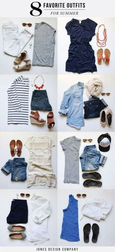 8 Outfits for Summer. Must-haves: striped knits, casual denim, colorful sandals.