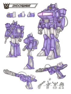 Shockwave : Cold, brutal, scientific approach to war. Seeks to overthrow Megatron as leader of Decepticons because he believes logic says he would be better. As laser gun, can emit lethal beams of energy from anywhere on the electomagnetic spectrum: gamma rays, X-rays, visible light, infrared rays, radio waves, etc.. Flies in laser gun or robot mode. High fuel use, but can be powered by nuclear sources. Often confounded by initiave, emotional thinking. This photo was uploaded by…