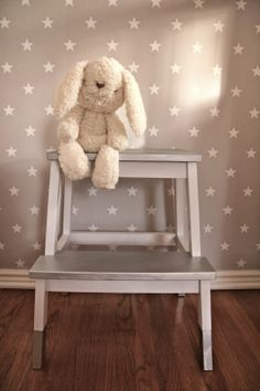 Gray Baby Nursery Star Wallpaper