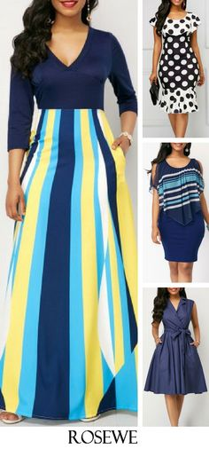 Three Quarter Sleeve Printed V Neck Maxi Dress.#Rosewe#dress#womensfashion