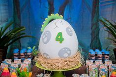 Dinosaur Egg Cake from a Dinosaur Birthday Party via Kara's Party Ideas | KarasPartyIdeas.com (4)