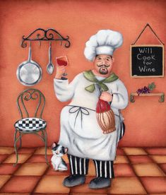 "First in a series of decorative paintings of ""The Sauced Chef"", by Arkansas artist Sheri Hart. ©2013, The Painter of Dreams®"